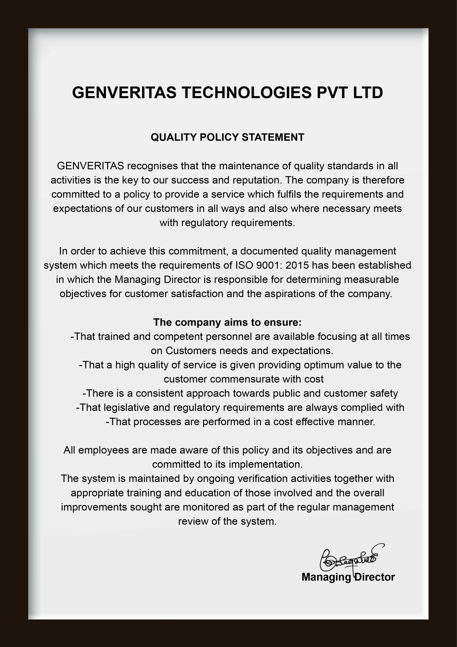 Genveritas Quality Policy